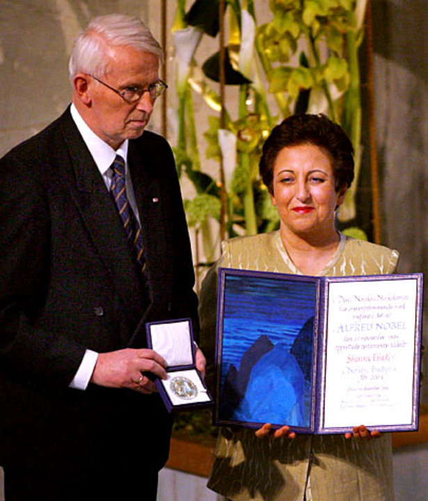 Shirin Ebadi receiving her Nobel Prize