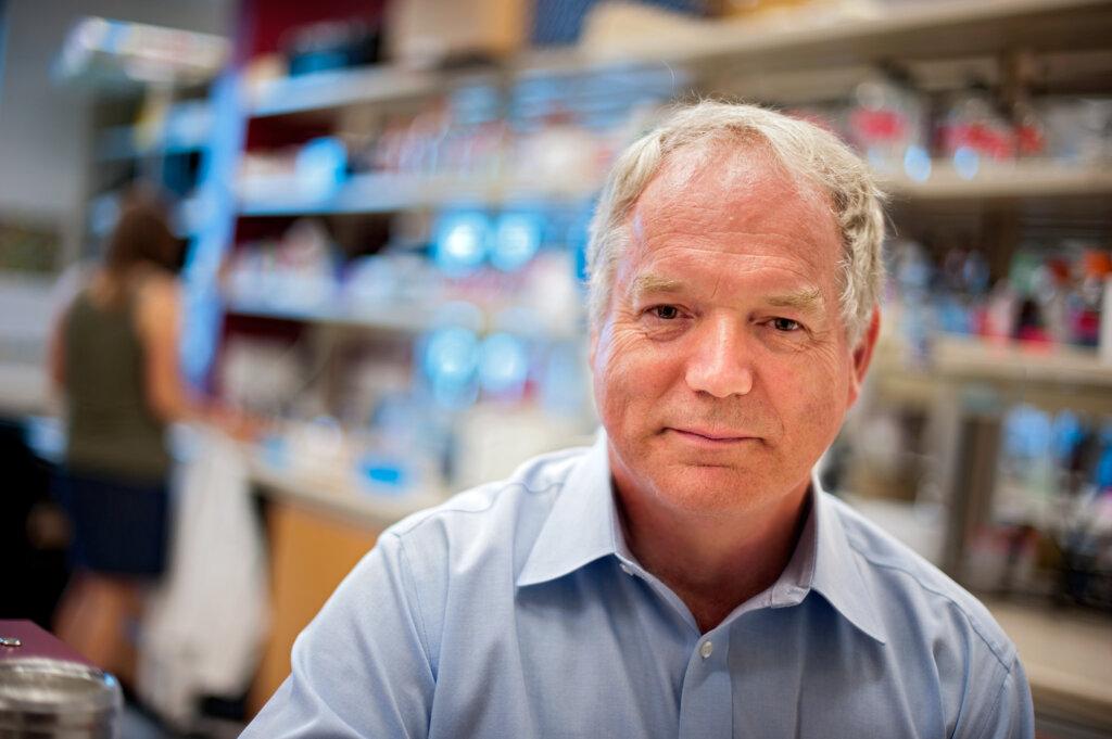 Michael Houghton in his lab at Li Ka Shing Institute of Virology