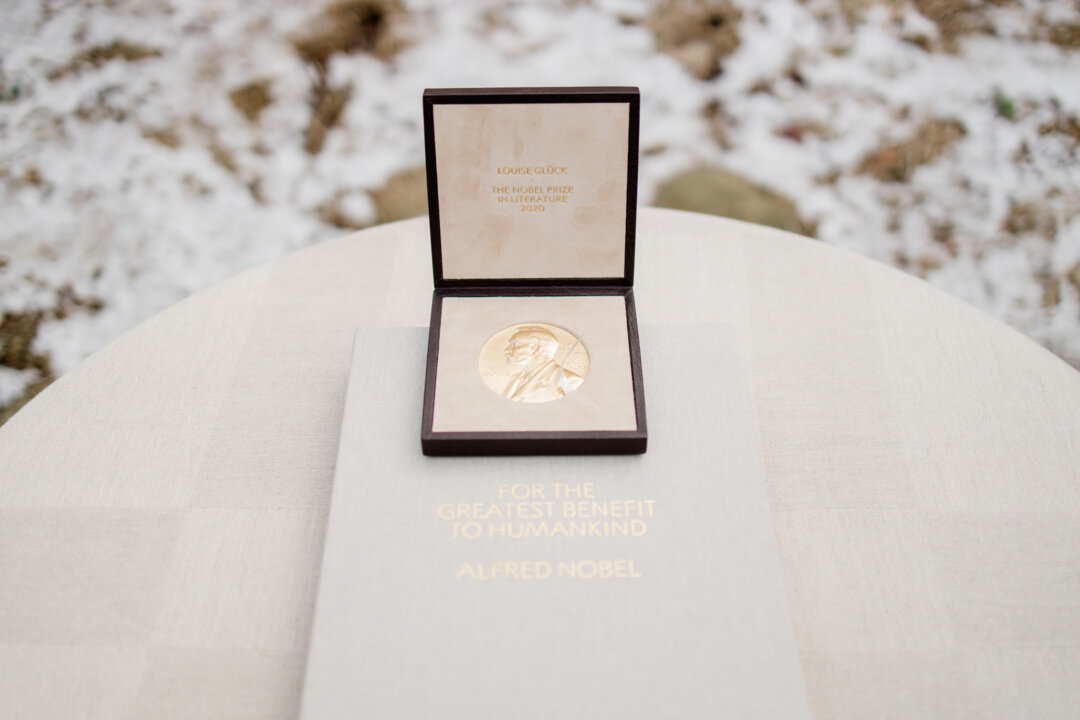 Louise Glück's Nobel Prize medal and diploma