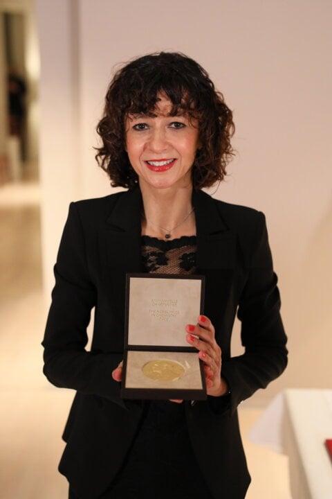 Emmanuelle Charpentier receiving her Nobel Prize medal and diploma
