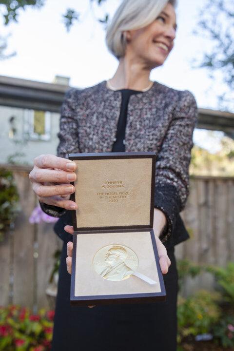 Jennifer A. Doudna's Nobel Prize medal.