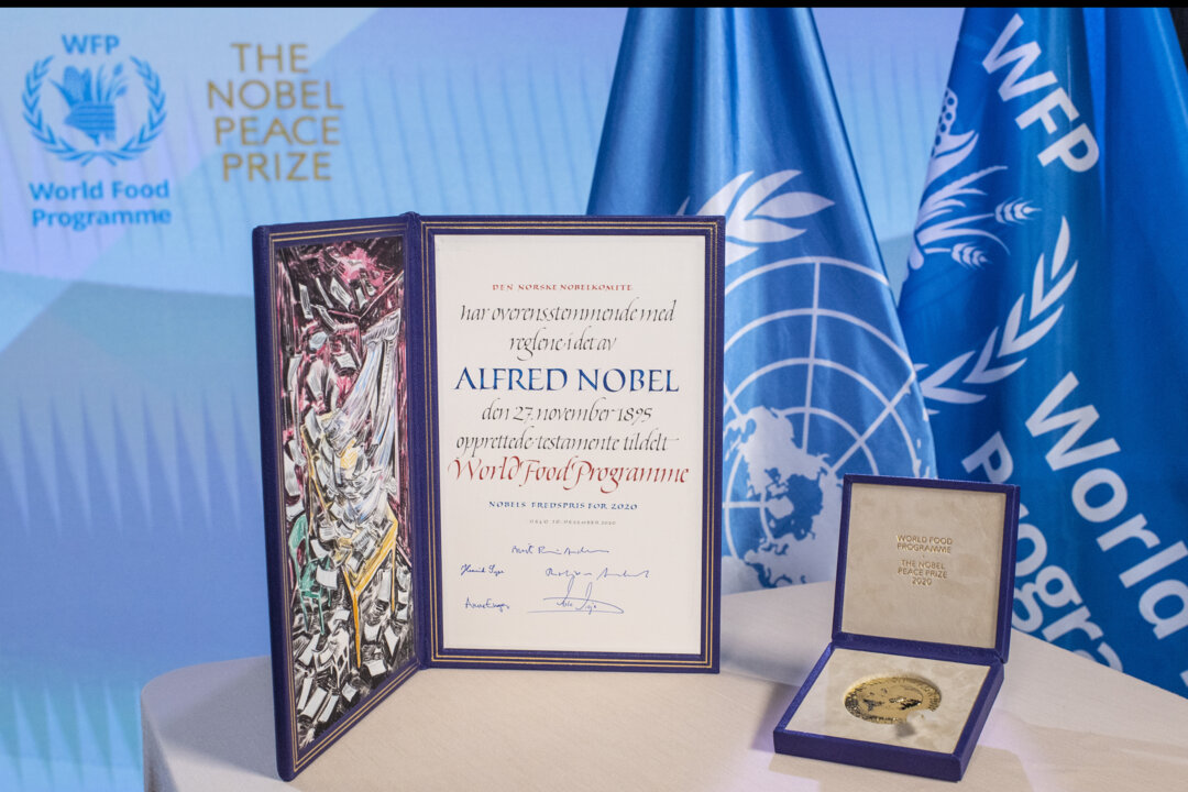 The Nobel Peace Prize diploma and medal.