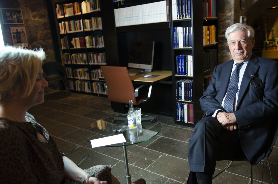 Mario Vargas Llosa during the interview at the Nobel Museum in Stockholm