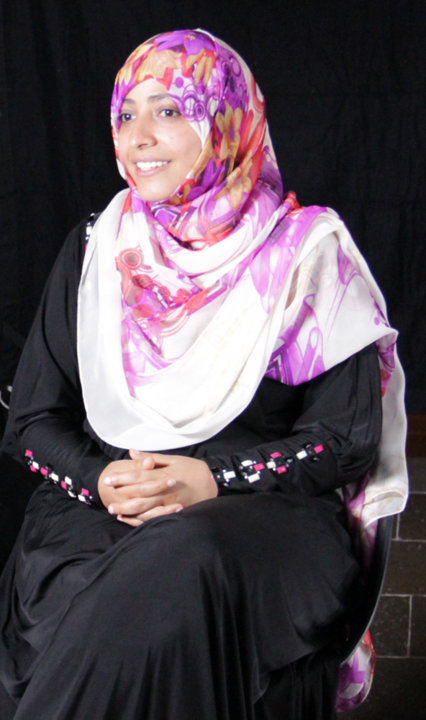 Tawakkol Karman during an interview at the Nobel Museum in Stockholm