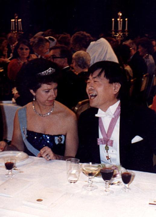 Princess Désirée of Sweden and Susumu Tonegawa at the Nobel Banquet in the Stockholm City Hall, Sweden, on 10 December 1987.