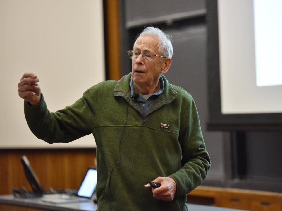 James Peebles lecturing at Princeton University.