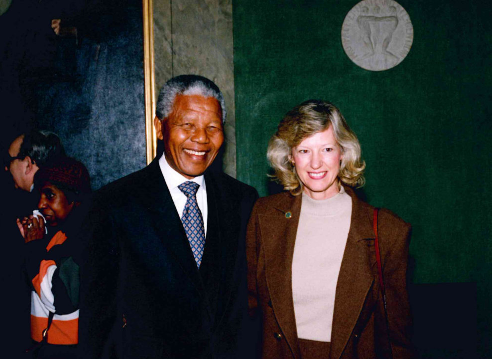 Nelson Mandela during a visit to the Nobel Foundation