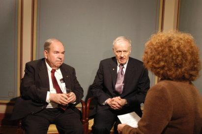 Alexei A. Abrikosov and Anthony J. Leggett during the interview. Copyright © Nobel Media AB 2003. Photo: Hans Mehlin.