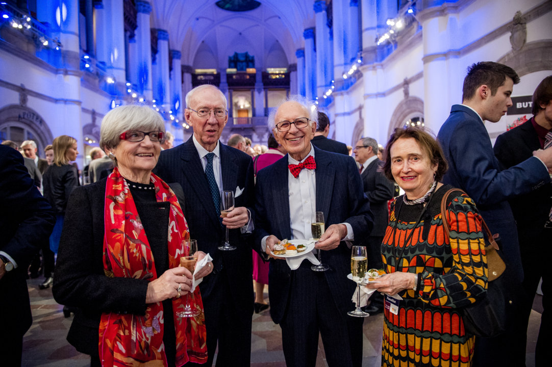 Bengt Samuelsson (second from left) and his wife met 2000 Nobel Laureate in Physiology or Medicine Eric R. Kandel (third from left) with wife during the Nobel Foundation reception at the Nordic Museum in Stockholm, 9 December 2014.