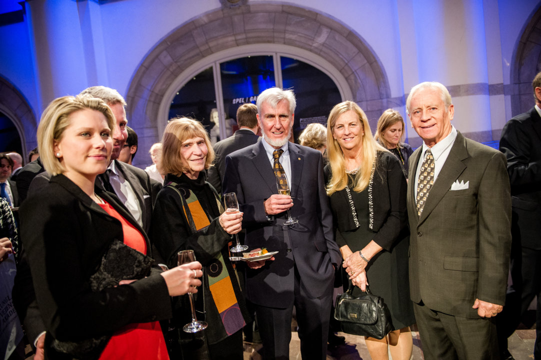 John O'Keefe surrounded by relatives during the Nobel Foundation reception at the Nordic Museum in Stockholm, 9 December 2014.