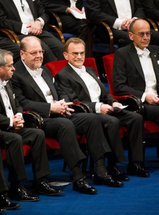 The Medicine Laureates at the Stockholm Concert Hall, 10 December 2013. From left: James E. Rothman, Randy W. Schekman and Thomas C. Südhof.