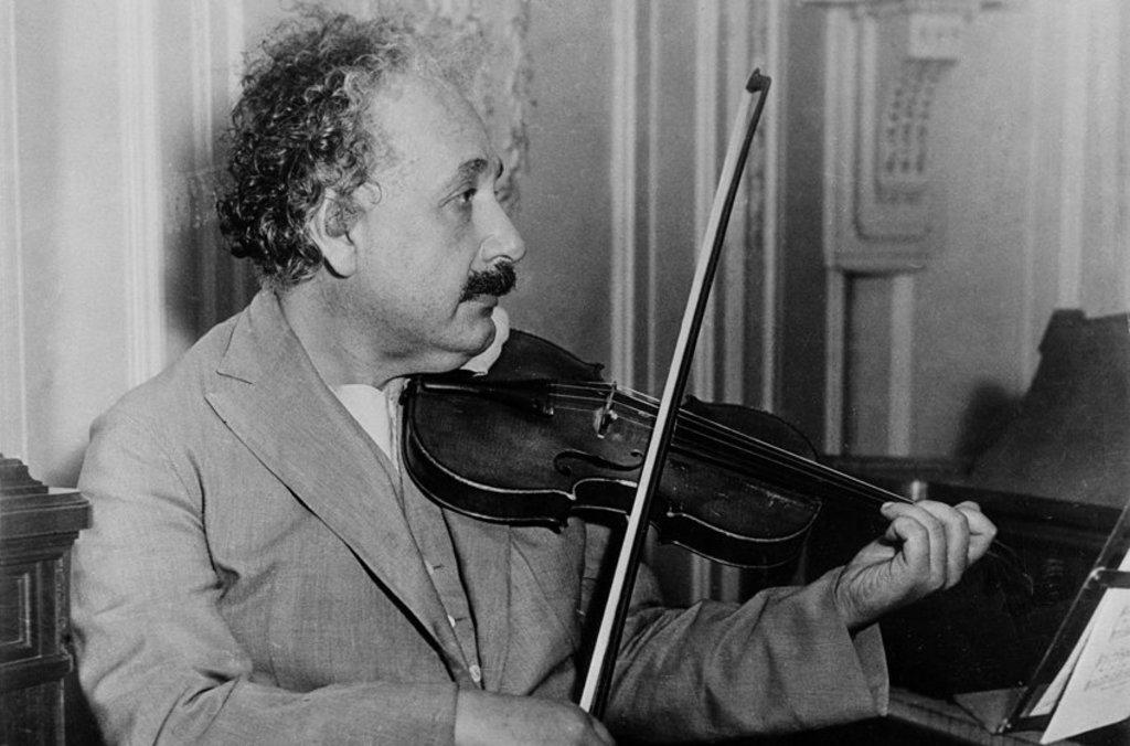 Albert Einstein with his violin