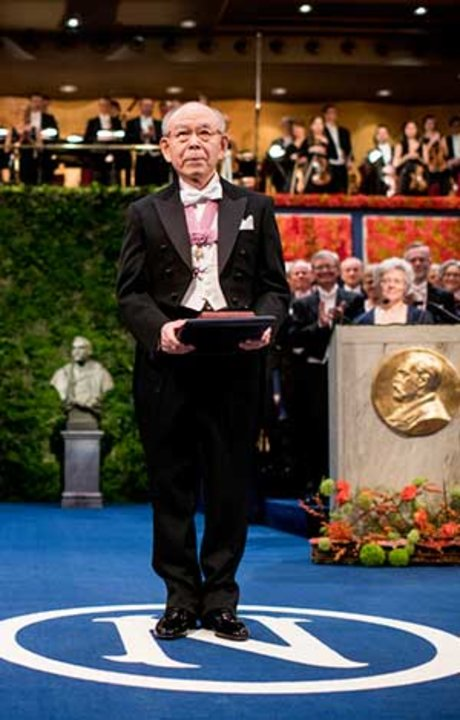 Isamu Akasaki after receiving his Nobel Prize at the Stockholm Concert Hall