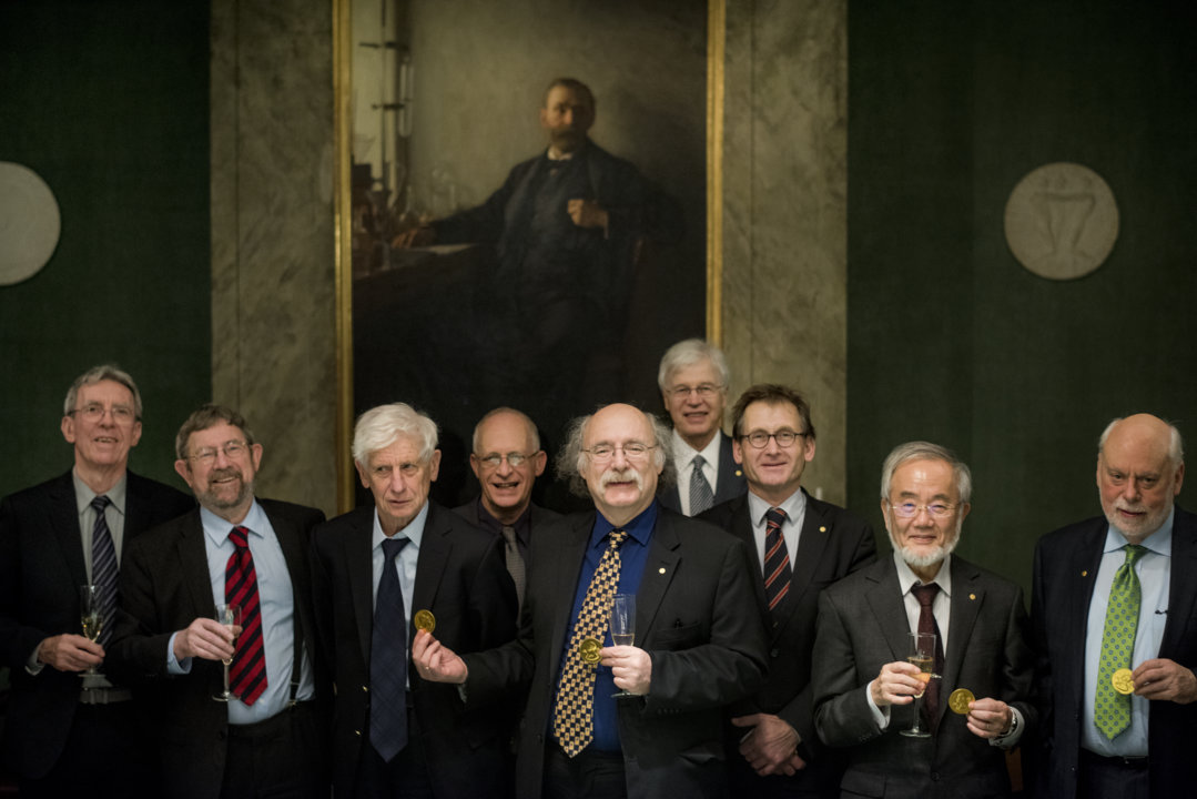 Nine of the eleven Nobel Laureates of 2016 assembled at the Nobel Foundation in Stockholm