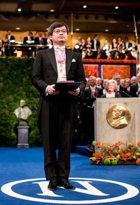 Hiroshi Amano after receiving his Nobel Prize at the Stockholm Concert Hall