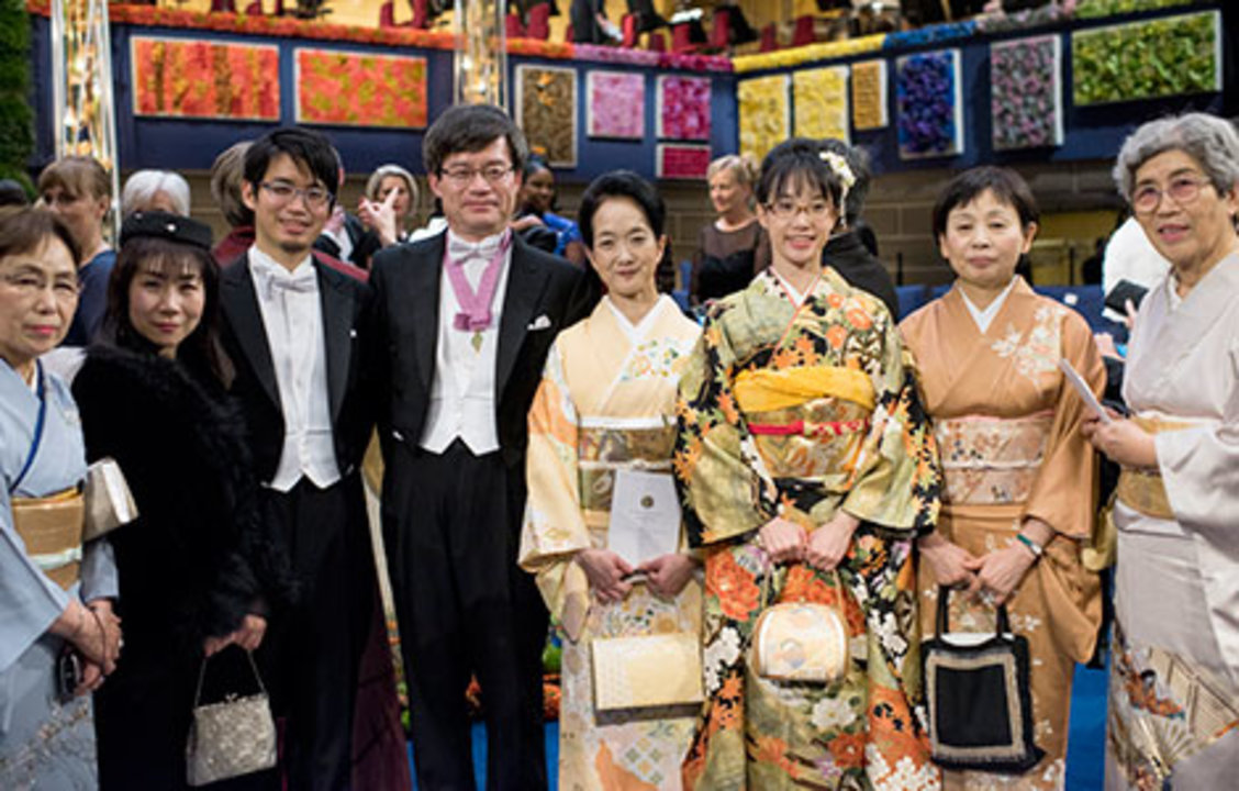 Hiroshi Amano with family and relatives on stage after the Nobel Prize Award Ceremony at the Stockholm Concert Hall, 10 December 2014.