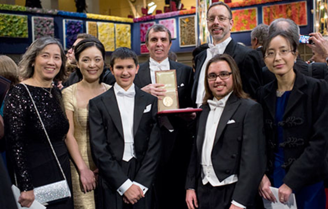 Eric Betzig with family and relatives on stage after the Nobel Prize Award Ceremony at the Stockholm Concert Hall, 10 December 2014.
