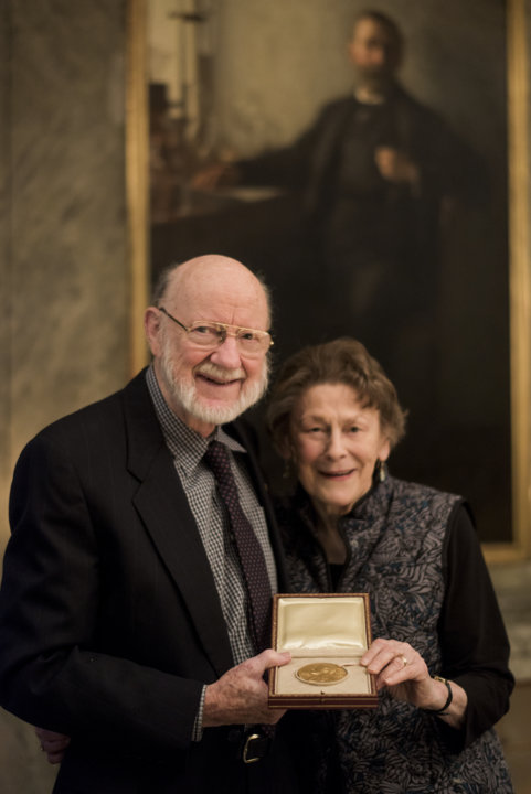 William C. Campbell and his wife Mrs. Mary Campbell showing the Nobel Medal.