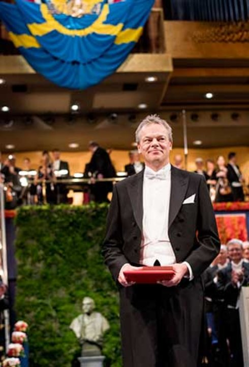Edvard I. Moser after receiving his Nobel Prize at the Stockholm Concert Hall