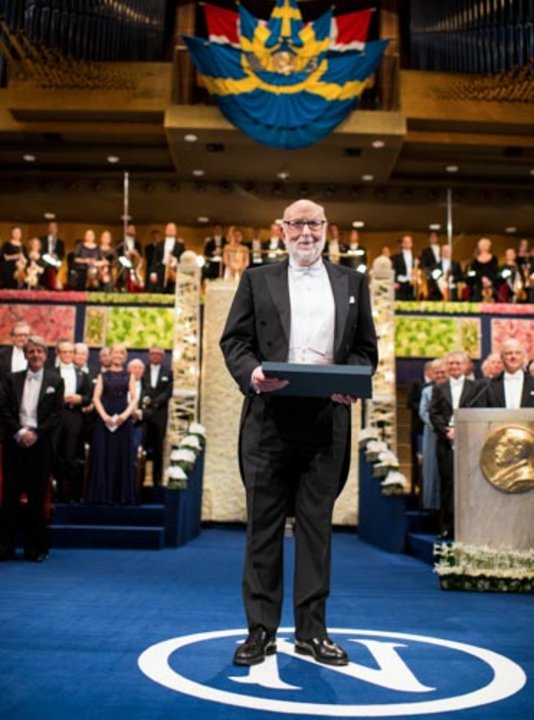 François Englert after receiving his Nobel Prize at the Stockholm Concert Hall