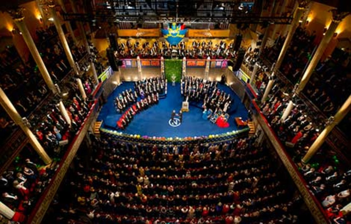Stefan W. Hell receiving his Nobel Prize. Overview from Nobel Prize Award Ceremony at the Stockholm Concert Hall