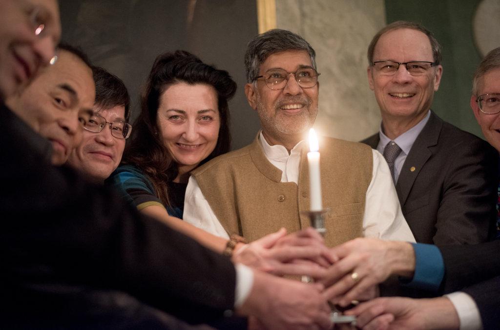 Kailash Satyarthi and the 2014 Nobel Laureates during his visit to the Nobel Foundation