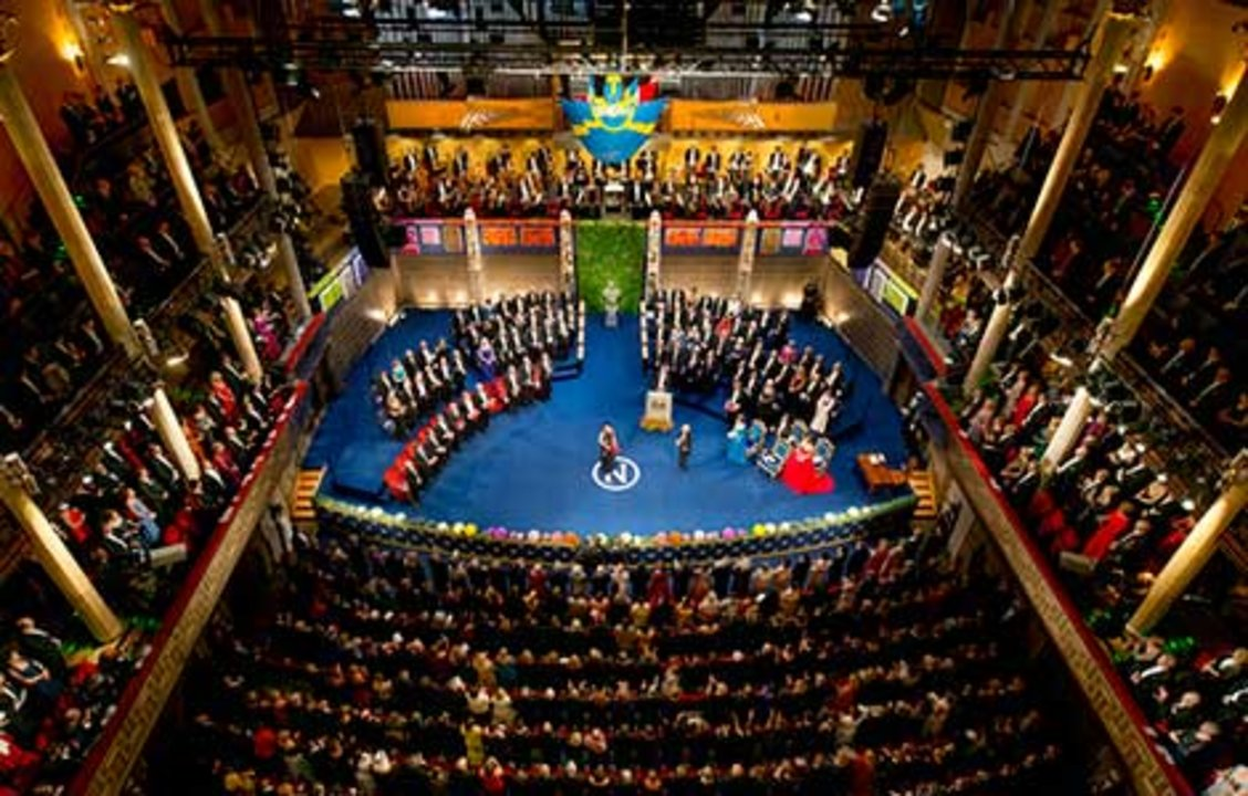 May-Britt Moser receiving his Nobel Prize. Overview from Nobel Prize Award Ceremony at the Stockholm Concert Hall