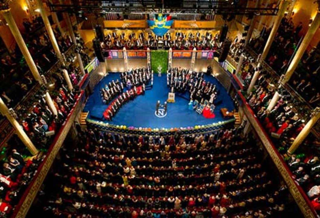Patrick Modiano receiving his Nobel Prize. Overview from Nobel Prize Award Ceremony at the Stockholm Concert Hall