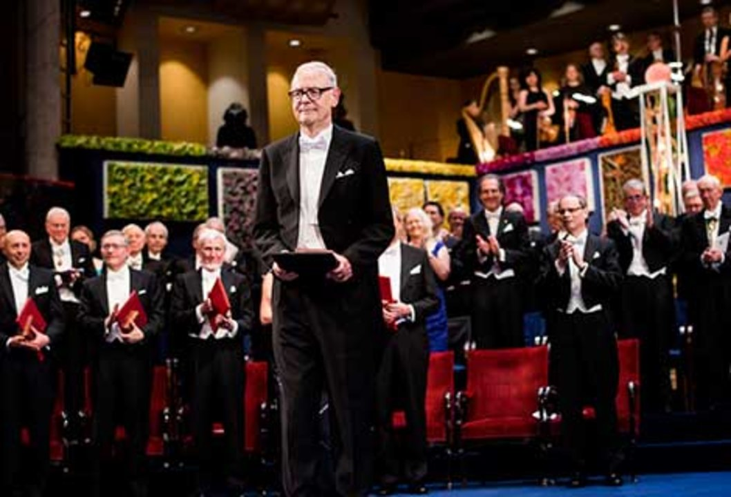 Patrick Modiano after receiving his Nobel Prize at the Stockholm Concert Hall