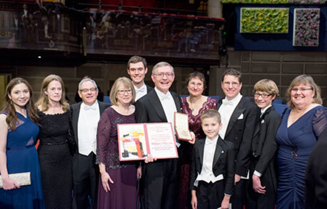 William E. Moerner with family and relatives on stage after the Nobel Prize Award Ceremony at the Stockholm Concert Hall, 10 December 2014.