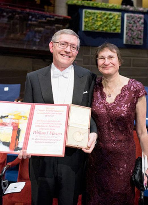 William E. Moerner with his wife, Mrs Sharon Stein Moerner, on stage after the Nobel Prize Award Ceremony at the Stockholm Concert Hall.