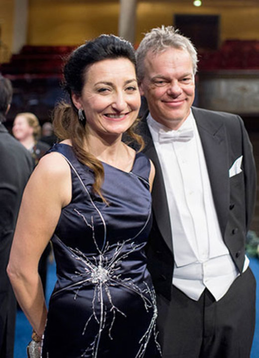 May-Britt and Edvard I. Moser on stage after the Nobel Prize Award Ceremony at the Stockholm Concert Hall.