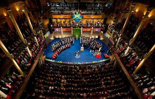 Shuji Nakamura receiving his Nobel Prize. Overview from Nobel Prize Award Ceremony at the Stockholm Concert Hall