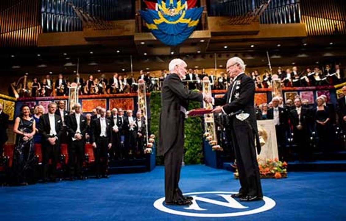 John O'Keefe  receiving his Nobel Prize from His Majesty King Carl XVI Gustaf of Sweden