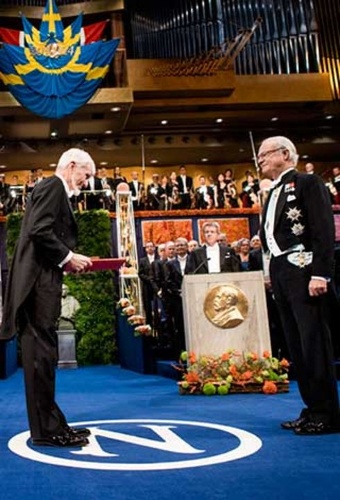 John O'Keefe after receiving his Nobel Prize at the Stockholm Concert Hall