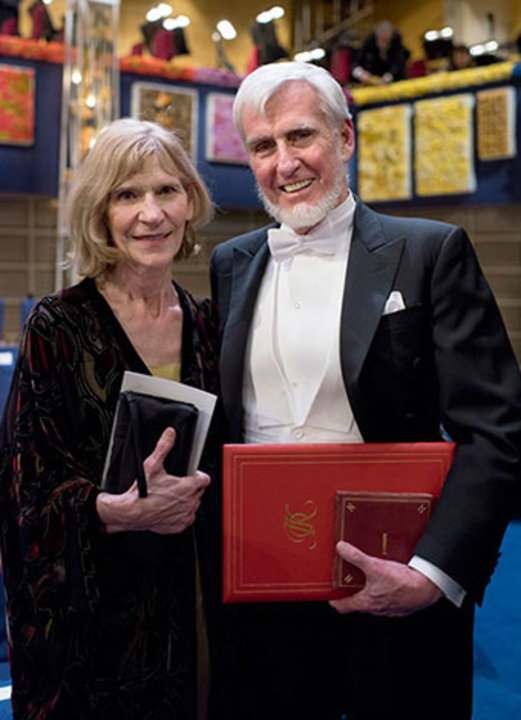 John O'Keefe with his wife, Mrs Eileen O'Keefe, on stage after the Nobel Prize Award Ceremony.