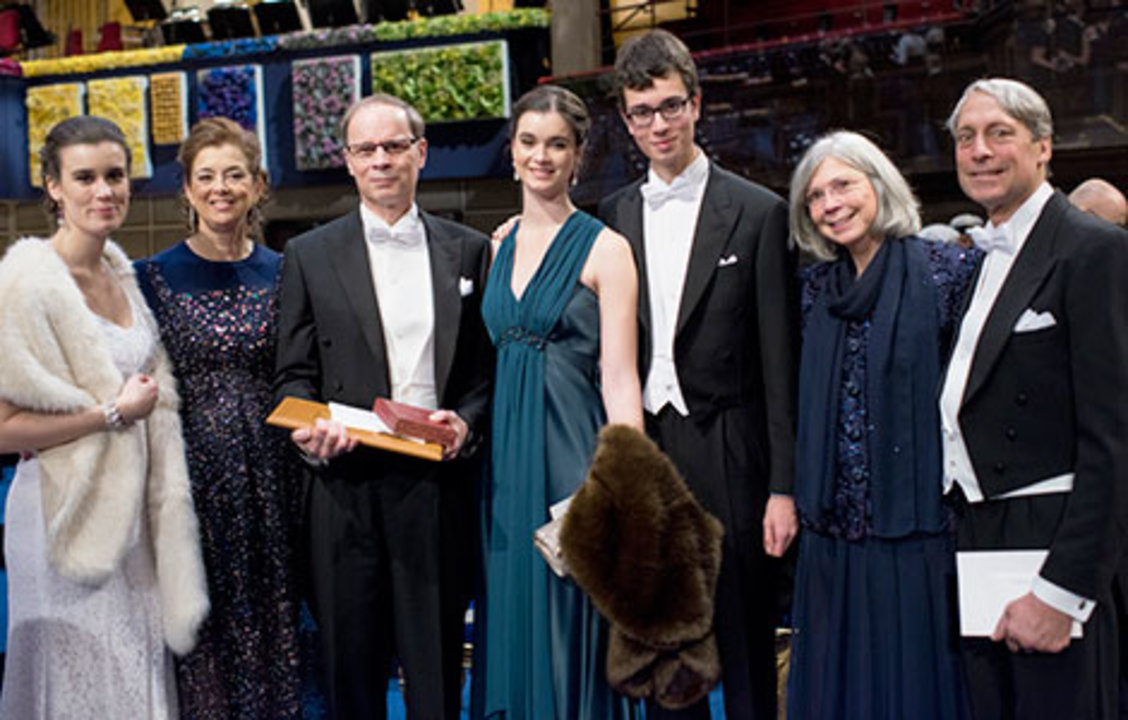 Jean Tirole with family and relatives on stage after the Nobel Prize Award Ceremony at the Stockholm Concert Hall, 10 December 2014.