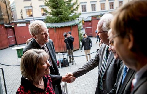 Michael W. Young arrives at the Nobel Museum