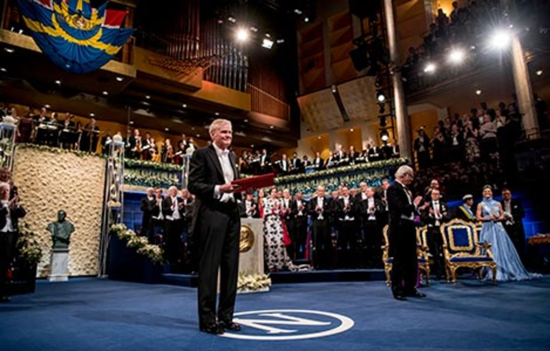 Michael W. Young after receiving his Nobel Prize at the Stockholm Concert Hall