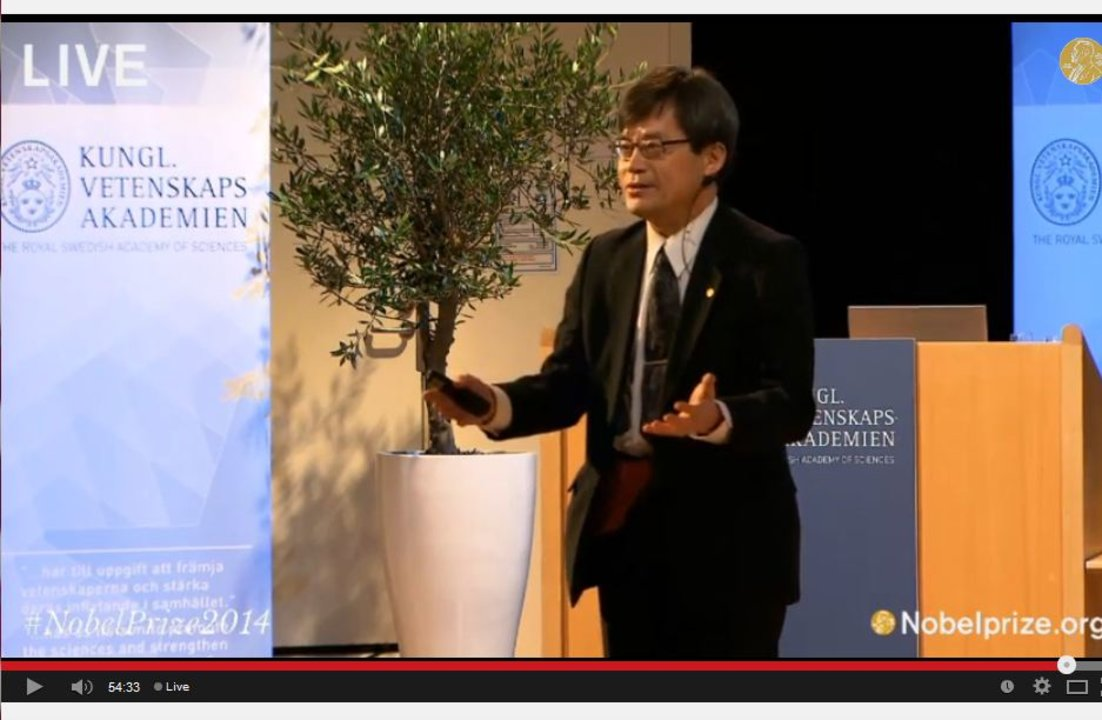Hiroshi Amano delivering his Nobel Lecture in the Aula Magna, Stockholm University