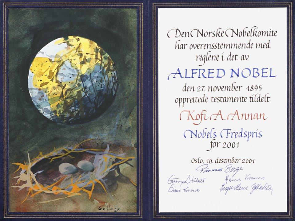 Kofi Annan - Nobel Diploma