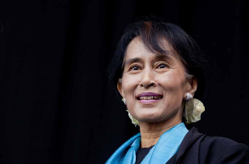 Aung San Suu Kyi on stage during the celebration, where 12,000 people attended