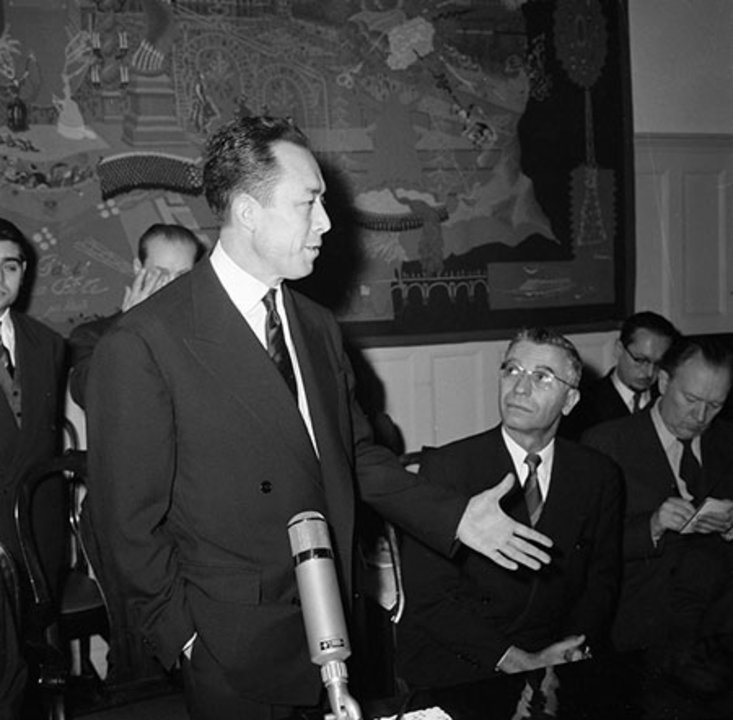 Albert Camus at a press reception at the French Embassy in Stockholm