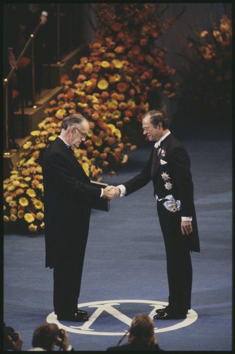 Camilo José Cela receiving his Nobel Prize
