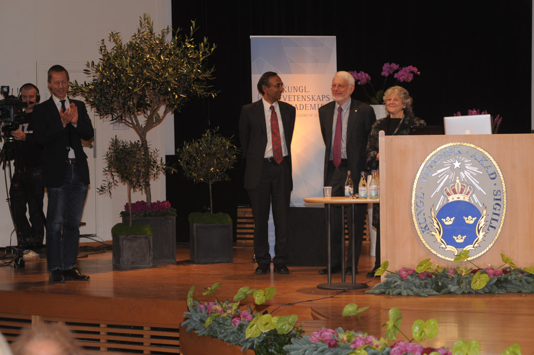 Venkatraman Ramakrishnan, Thomas A. Steitz and Ada E. Yonath after delivering their Nobel Lectures