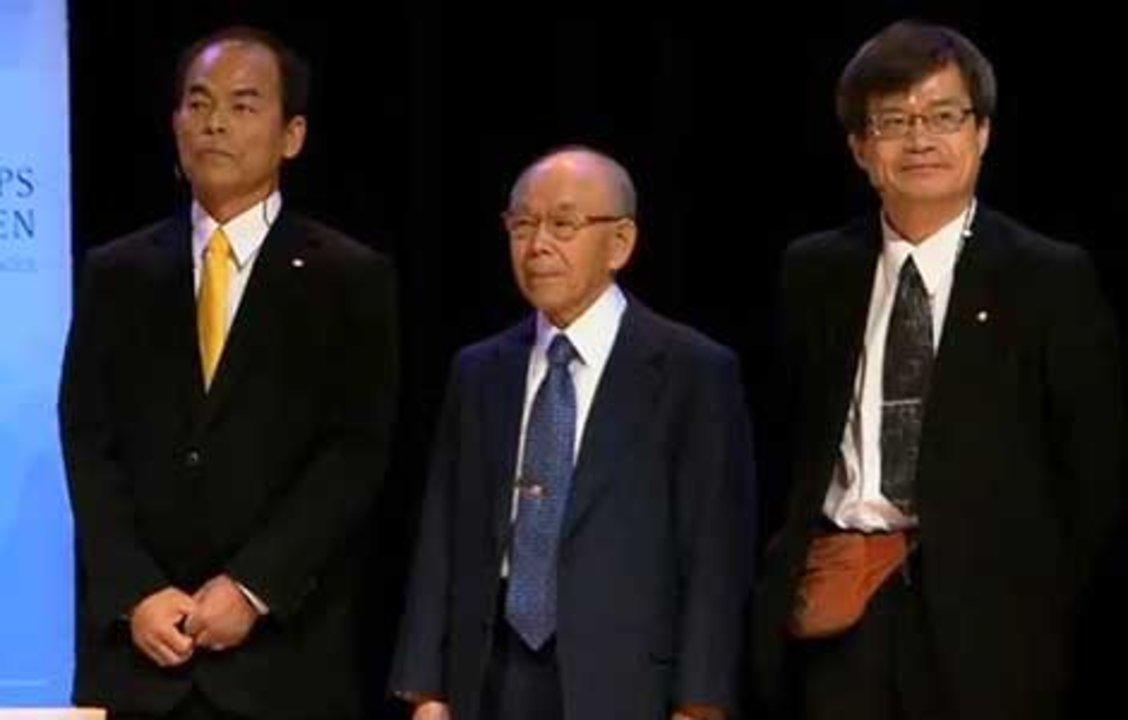 All three Physics Laureates on stage after the Nobel Lectures in the Aula Magna, Stockholm University, 8 December 2014. From left: Shuji Nakamura, Isamu Akasaki and Hiroshi Amano.