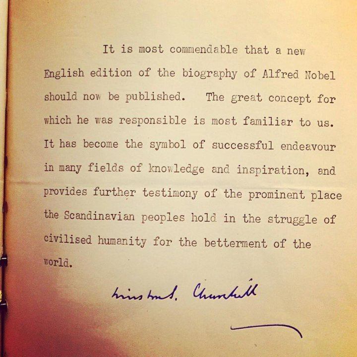 Preface dictated and signed by Nobel laureate Winston Churchill
