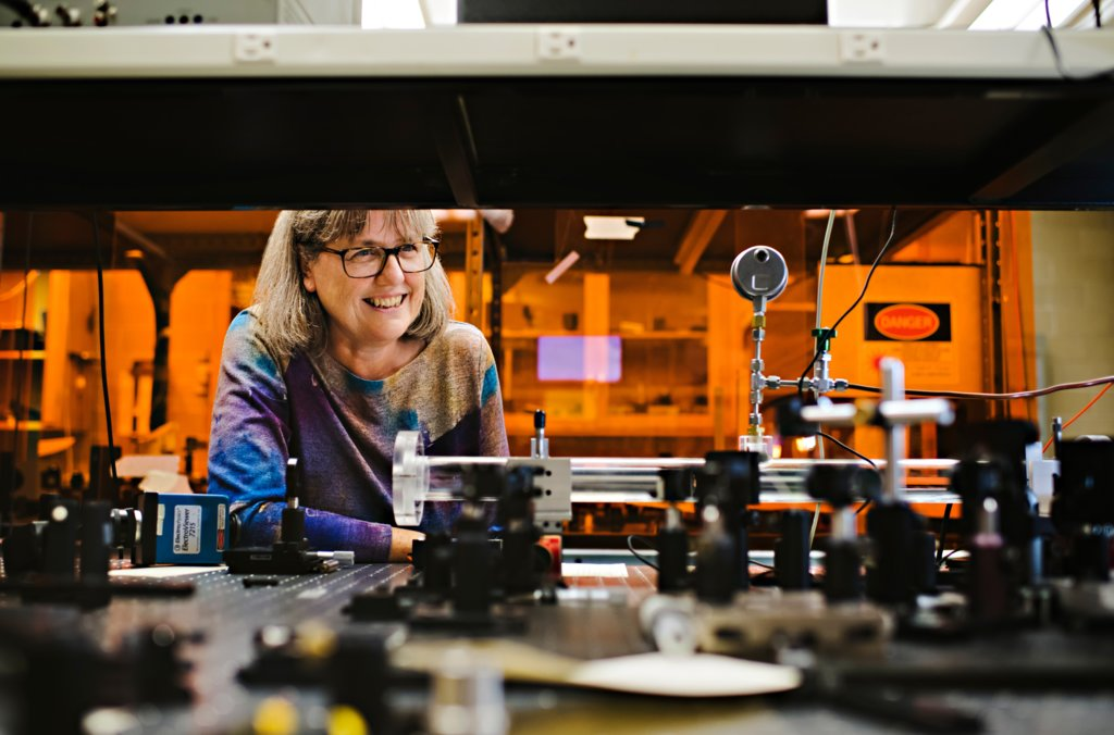 Donna Strickland in the laboratory