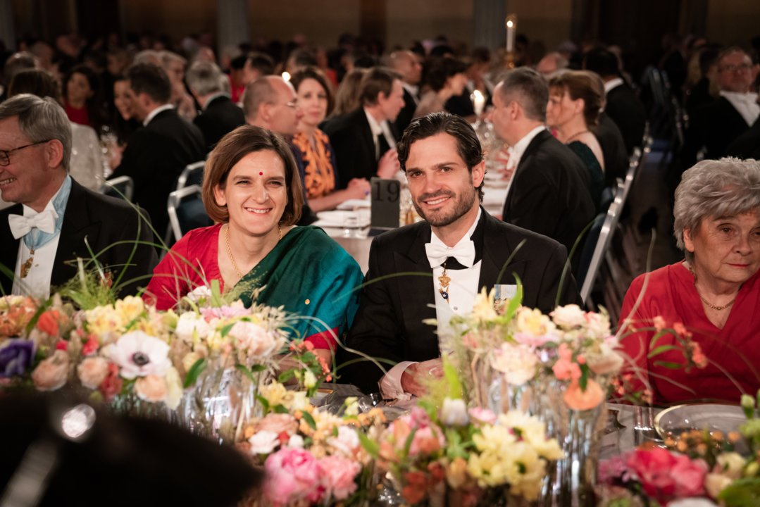 Esther Duflo and Prince Carl Philip at the Nobel Banquet
