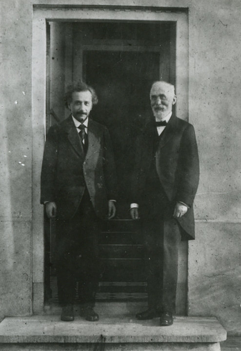 Hendrik A. Lorentz and Albert Einstein outside the home of Paul Ehrenfest, Leiden, 1921